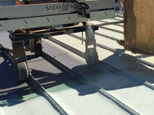 Spraybot with metal seam roof