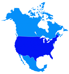 North America blue map